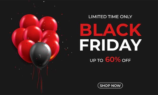 Czarny piątek wyprzedaż plakat z błyszczącymi balonami