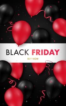 Czarny piątek wyprzedaż plakat z błyszczącymi czarno-czerwonymi balonami.