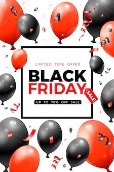 Czarny piątek wyprzedaż plakat z błyszczącymi czerwono-czarnymi balonami, metką i konfetti. na ulotkę z wyprzedażą blackfriday. realistyczna ilustracja na białym tle