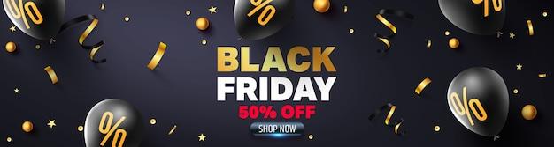 Czarny piątek wyprzedaż plakat z czarnymi balonami do sprzedaży detalicznej, zakupów lub promocji czarny piątek w złotym i czarnym stylu.