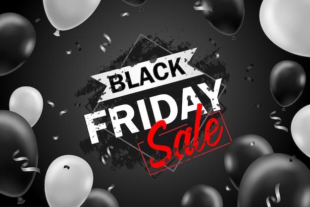 Czarny piątek wyprzedaż plakat z czarnymi balonami do sprzedaży detalicznej, zakupów lub promocji w czarny piątek