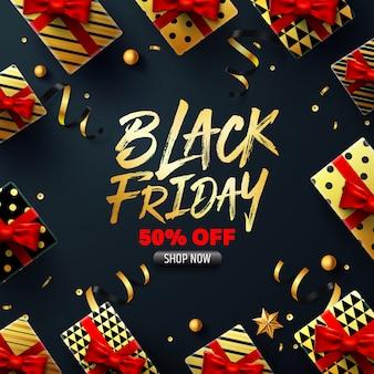 Czarny piątek wyprzedaż plakat z pudełkiem prezentowym do sprzedaży detalicznej