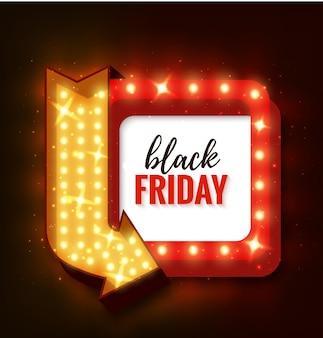Czarny piątek wyprzedaż rama światła retro ze strzałką świecące żarówki