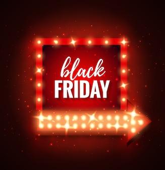 Czarny piątek wyprzedaż rama światła w stylu retro ze strzałką świecących żarówek