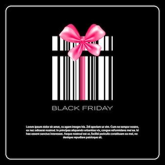 Czarny piątek wyprzedaż square flyer design z pudełkiem prezentowym jako kodem kreskowym