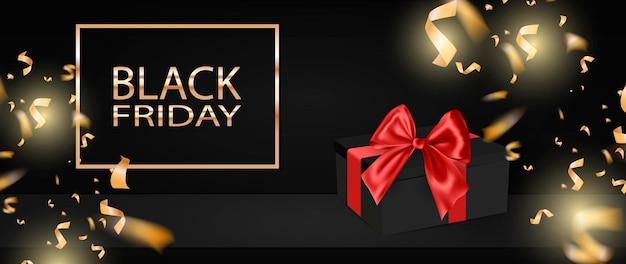 Czarny piątek wyprzedaż tło z prezentem