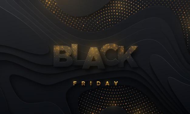 Czarny piątek wyprzedaż transparent z falistych czarnych kształtów z teksturą ze złotym błyszczącym wzorem cząstek