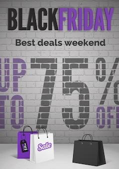 Czarny piątek wyprzedaż transparent z realistyczną ilustracją wektorową torby na zakupy