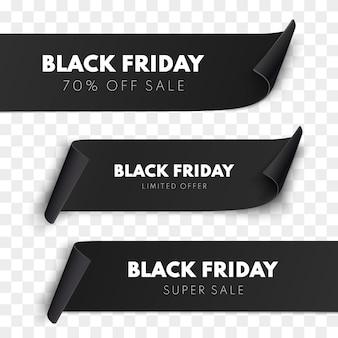 Czarny piątek wyprzedaż wstążka kolekcja banerów na białym tle wektor metki price