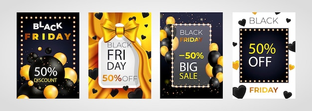 Czarny piątek wyprzedaż zestaw projektów plakatów lub ulotek z balonami i konfetti