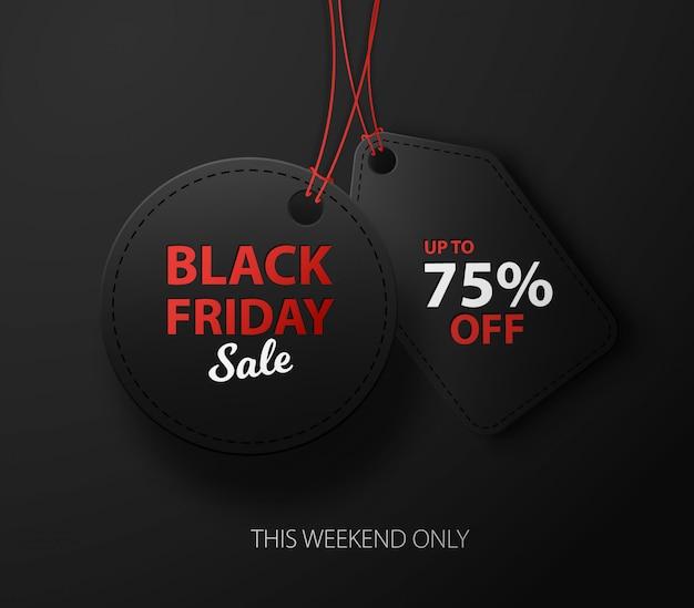 Czarny piątek wyprzedaż zniżki na reklamę komercyjną. czarne etykiety 3d