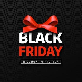 Czarny piątek wyprzedaży napis z czerwoną kokardką. baner na czarny piątek.