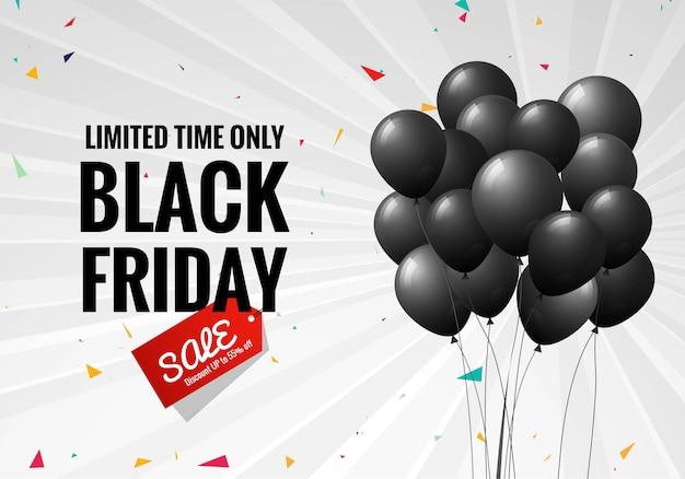 Czarny piątek wyprzedaży plakat z balonami i konfetti