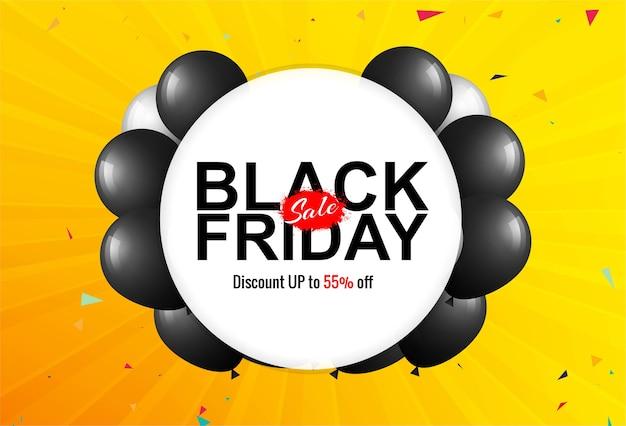 Czarny piątek wyprzedaży plakat z błyszczącymi balonami i konfetti