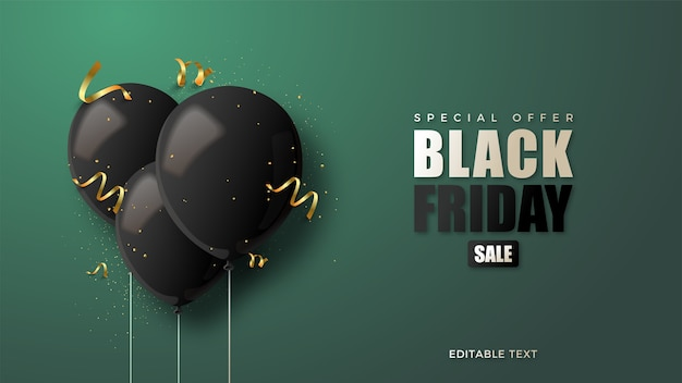 Czarny piątek z czarnymi balonami 3d ilustracją.