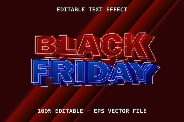 Czarny piątek z edytowalnym efektem tekstowym w nowoczesnym stylu neonowym