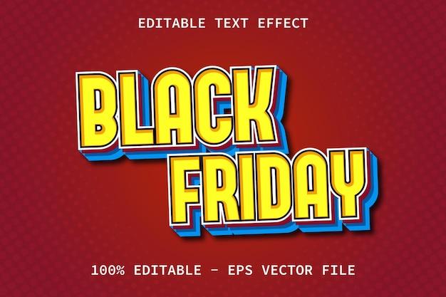 Czarny piątek z efektem edycji tekstu w nowoczesnym stylu
