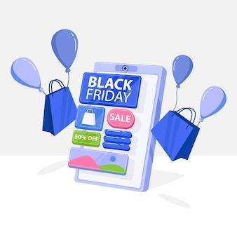 Czarny piątek z ilustracją przedstawiającą sklep ze smartfonami, idealny dla sklepów internetowych