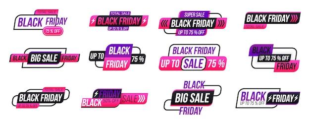 Czarny piątek zakupy etykiety na białym tle. kolekcja tagów czarny piątek.