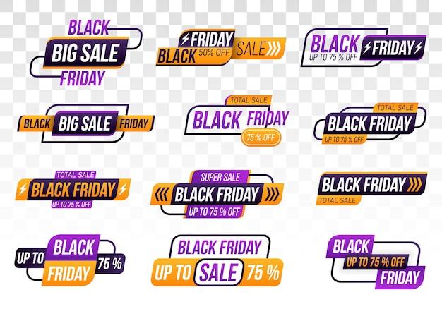 Czarny piątek zakupy transparent na przezroczystym tle. kolekcja black friday.