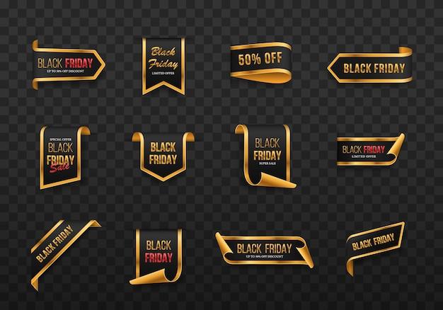 Czarny piątek zestaw blackgolden zwoje i banery na białym tle