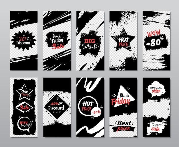 Czarny piątek zestaw kolekcja banerów rabatowych zakupy świąteczne