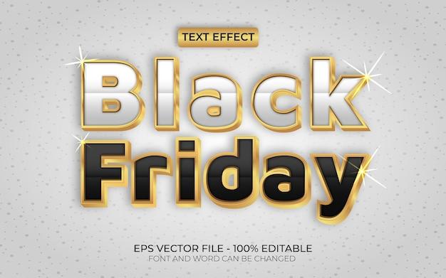 Czarny piątek złoty styl efektu tekstowego edytowalny motyw sprzedaży efektów tekstowych