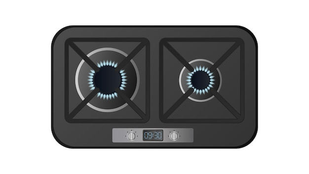 Czarny piec kuchenny z widokiem z góry. w zestawie kuchenka gazowa. nowoczesny piekarnik do kuchni w realistycznym stylu. odosobniony. wektor.