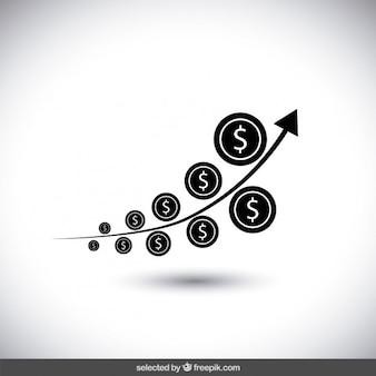 Czarny pieniądze wykres wzrostu