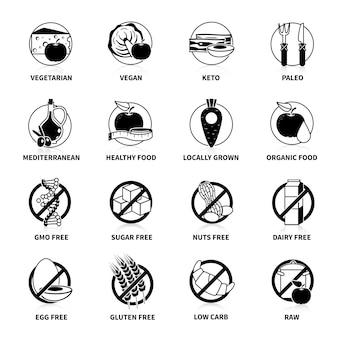 Czarny piktogram diety zestaw z komentarzami na białym tle ilustracji wektorowych
