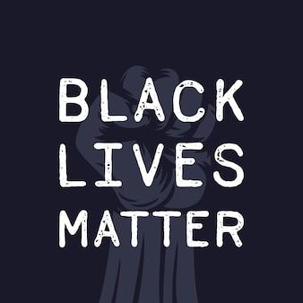 Czarny plakat materii życia z uniesioną pięścią w proteście