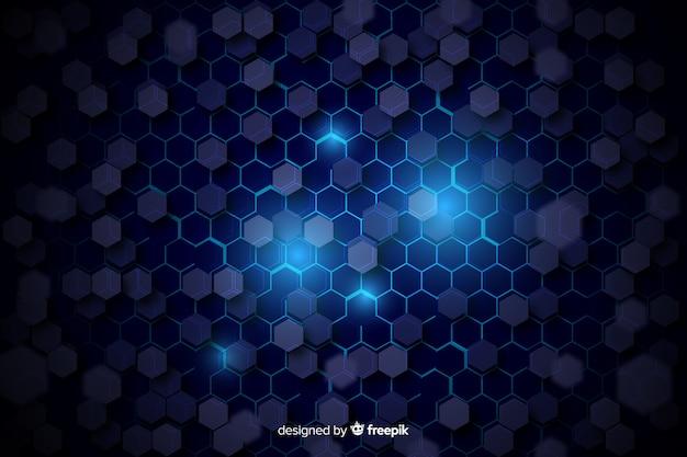 Czarny plaster miodu z niebieskim światłem między komórkami