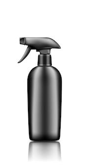 Czarny plastikowy pistolet w sprayu makieta butelki kosmetycznej na białym tle