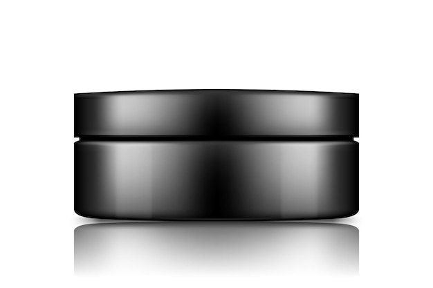 Czarny plastikowy słoik kosmetyczny z makieta czapki wyizolowany z tła