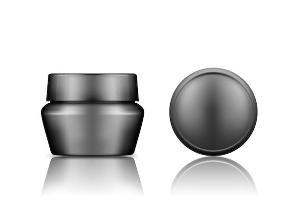 Czarny plastikowy słoik kosmetyczny z makieta widoku z góry na czapce odizolowana od tła
