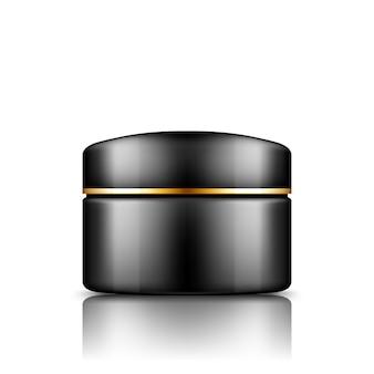 Czarny plastikowy słoik kosmetyczny ze złotym paskiem na makiecie czapki odizolowanej od tła