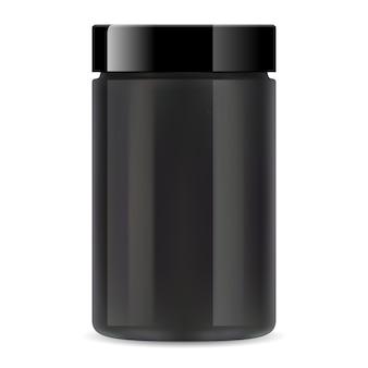 Czarny plastikowy słoik. pojemnik na suplementy białkowe