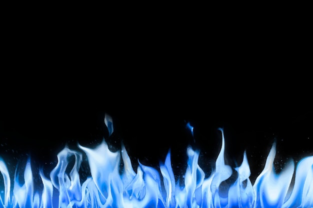 Czarny płomień tło, niebieska granica realistyczny obraz ognia wektor