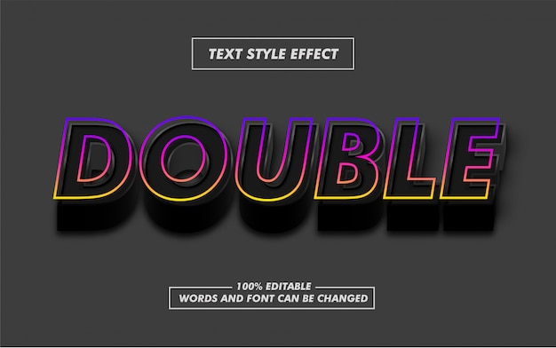 Czarny podwójny gradient pogrubiony styl tekstu