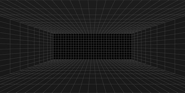 Czarny pokój z perspektywą siatki. szare tło model szkieletowy. model technologii cyfrowej skrzynki cybernetycznej. streszczenie szablon architektoniczny wektor