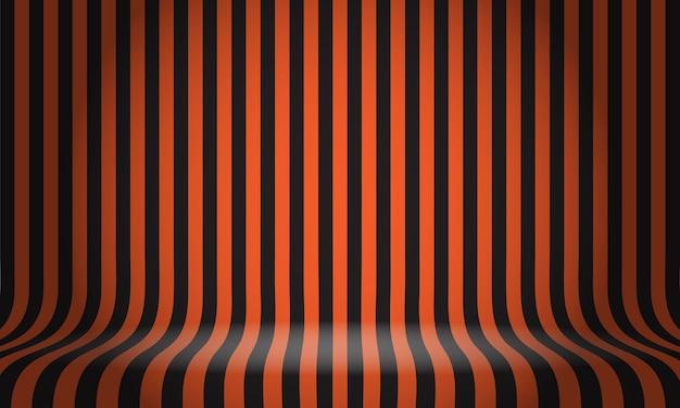 Czarny pomarańczowy wzór linii studio wyświetla tło pustej przestrzeni