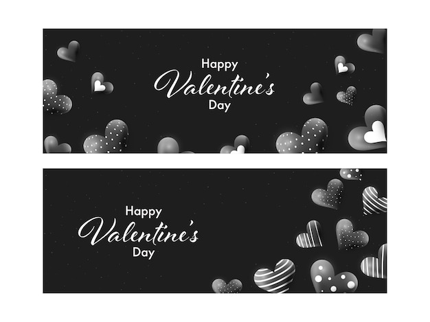 Czarny projekt nagłówka lub transparentu ozdobiony sercami 3d i czcionką happy valentine's day