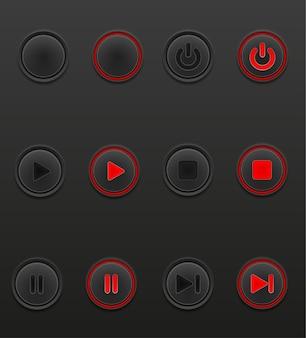 Czarny przycisk multimedialny ustawiony w pozycji włączenia i wyłączenia w kolorze szarym
