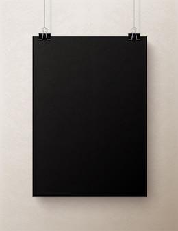 Czarny pusty pionowy arkusz papieru, makieta