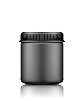 Czarny pusty plastikowy bank z makieta czapki do projektowania opakowań na białym tle