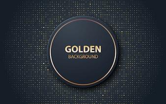 Czarny realistyczny kształt okręgu dekoracji ze złotymi błyskami
