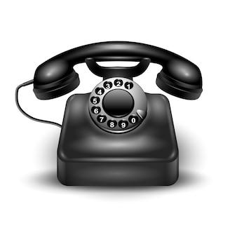 Czarny realistyczny retro telefon przewodowy i stacjonarny na białym tle iz cieniami