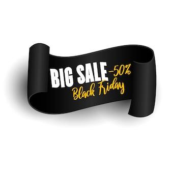 Czarny realistyczny zwój papieru. transparent sprzedaż czarny piątek.