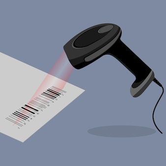 Czarny ręczny skaner kodów kreskowych skanujący kod kreskowy w płaskiej konstrukcji na tle. kod kreskowy na papierze z wiązką laserową. ilustracja