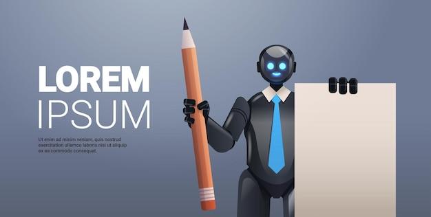 Czarny robot cyborg trzymający notatnik i ołówek robota postać technologia sztucznej inteligencji